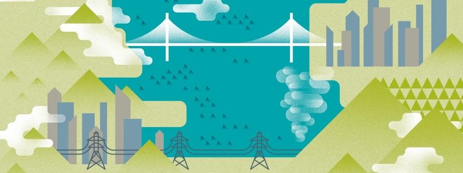 ilustração de sistema de energia e tecnologia representando as cidades resiliente