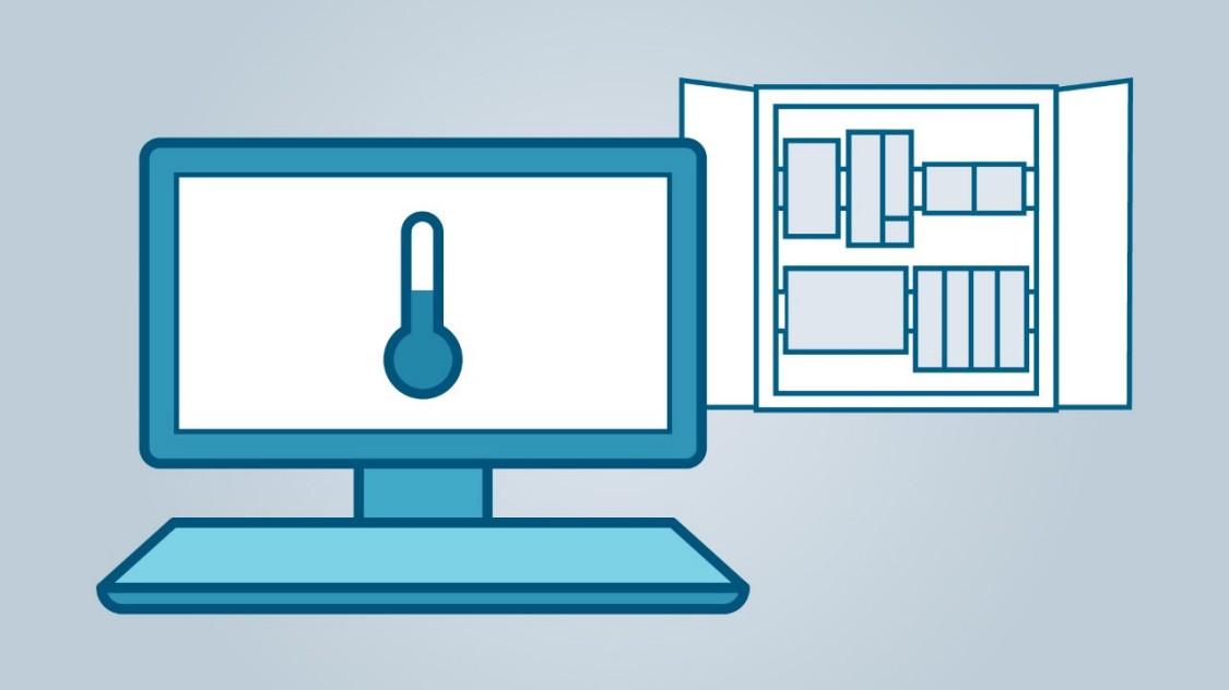 Bildschirm mit Thermometer und Schaltschrank im Hintergrund