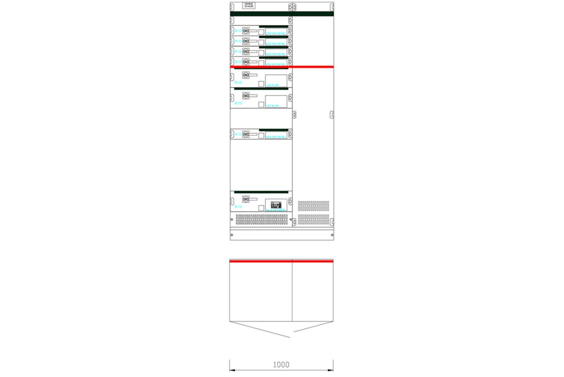 Przykładowy widok pola rozdzielnicy SIVACON S8 z zabudową kasetową