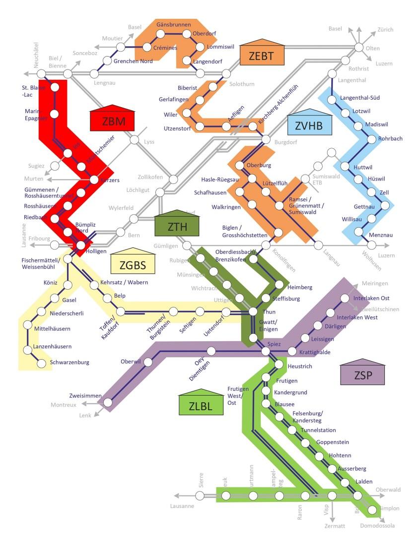 Farbliche Unterteilung des BLS Bahnnetzes
