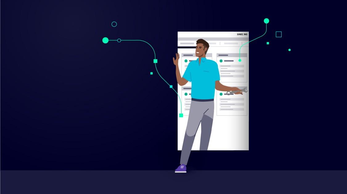 製造現場でプラントコンポーネントを上方から眺めるユーザー。上部にはSINEC INSの特長を示すデジタルグラフィックが浮かんでいる。