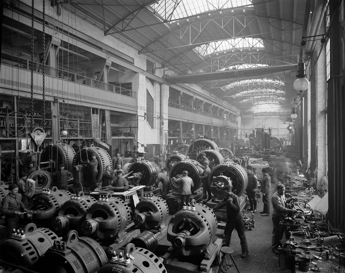 Motor production at Charlottenburg plant, Berlin, 1899