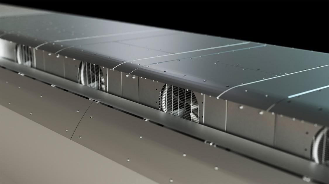 As otimizações do teto também incluem as abas do resistor de freio no teto, cujos efeitos foram exaustivamente testados em um túnel de vento.