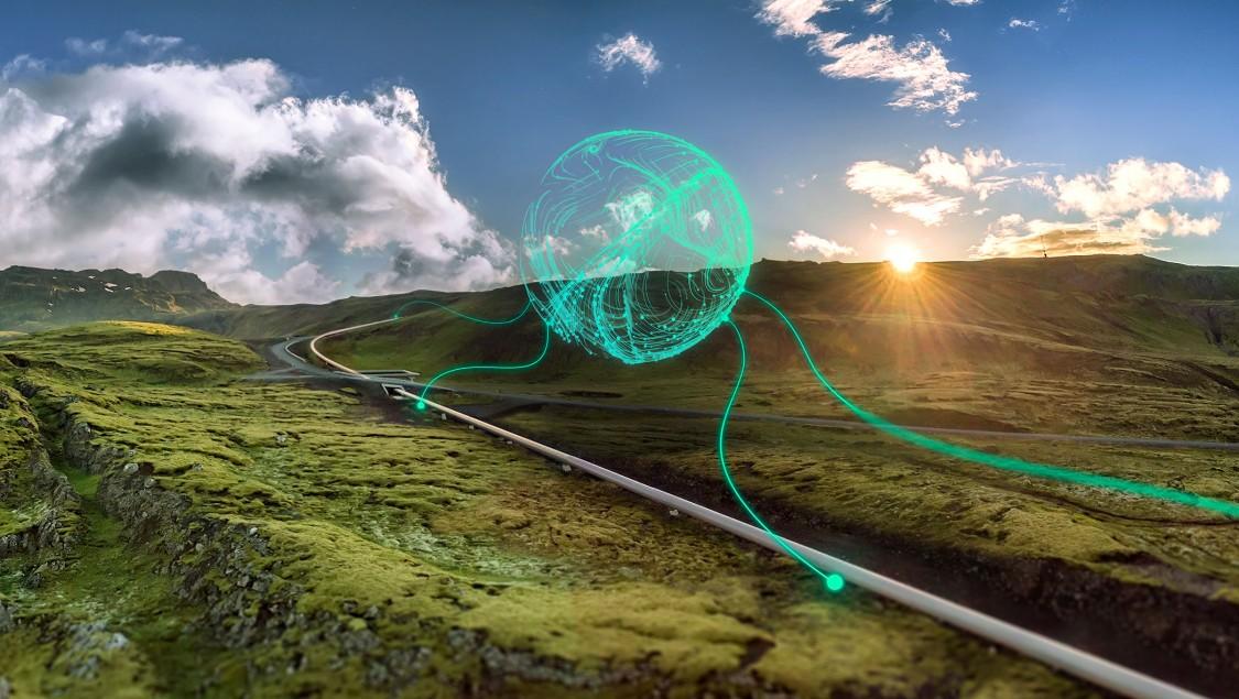 Graficky znázorněná síť vzdálené průmyslové komunikace vedena reálným přírodním prostředí