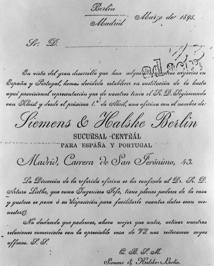 In black and white – Certificate of formation of the first S&H technical office in Spain, 1895