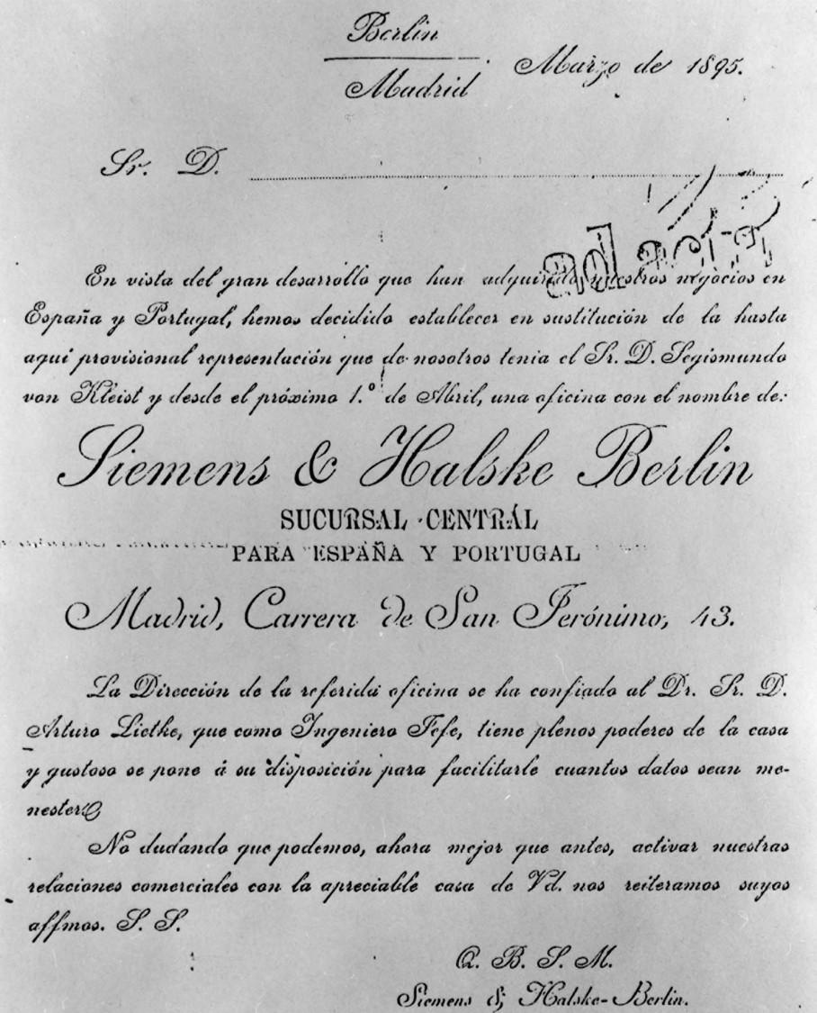 En blanco y negro - Certificado de formación de la primera oficina técnica de S&H en España, 1895