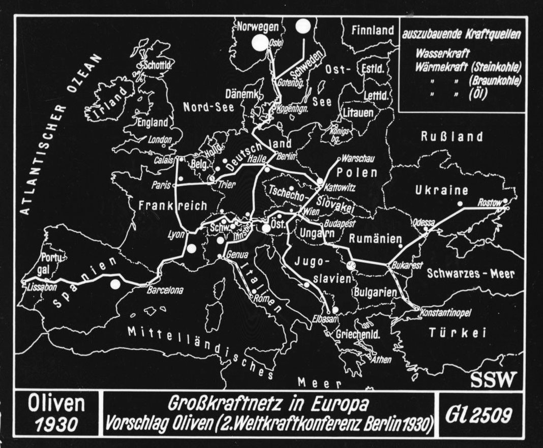 Large scale power grid for Europe, 1930