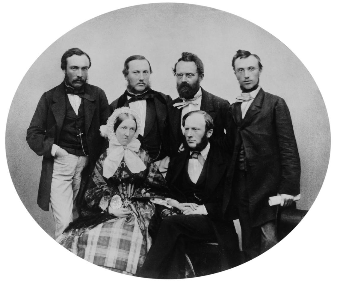 William Siemens mit seiner Frau Anne im Kreise seiner Brüder Walter, Carl, Werner und Otto, um 1860