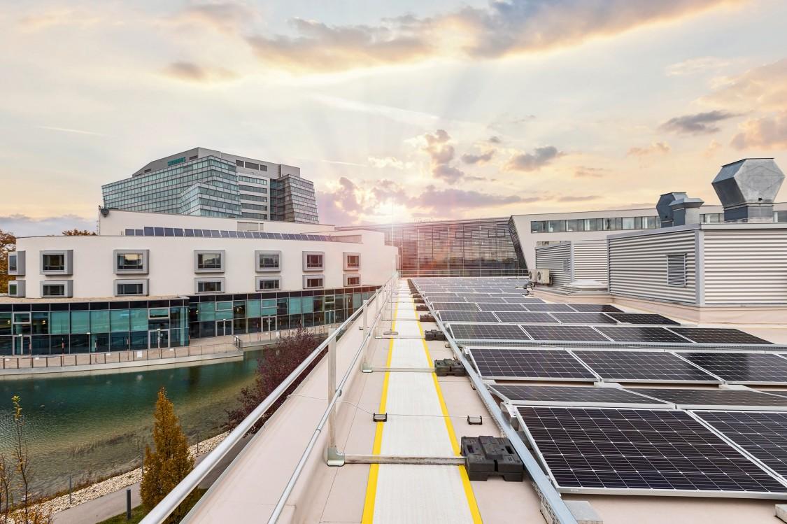 Ein Teil der insgesamt 1600 m2 umfassenden PV-Anlage mit einer Spitzenleistung von 312 kWp.