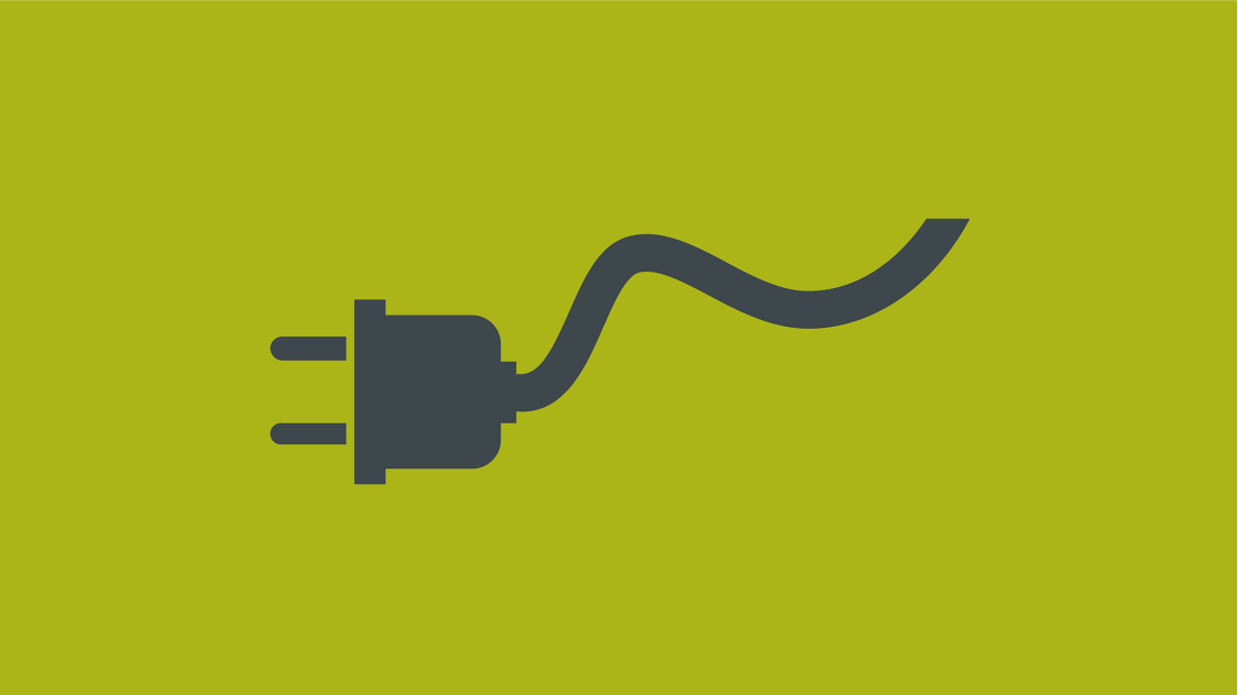 Icon of a stylized power cable with plug on green background