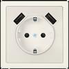 DELTA SCHUKO® style titanweiß mit doppeltem USB Ladegerät