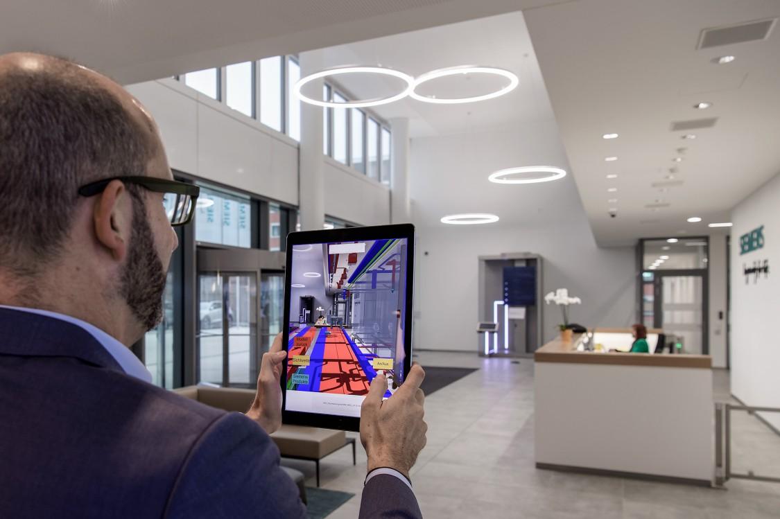 Siemens Campus Zug Büro Gebäude Eingang BIM App
