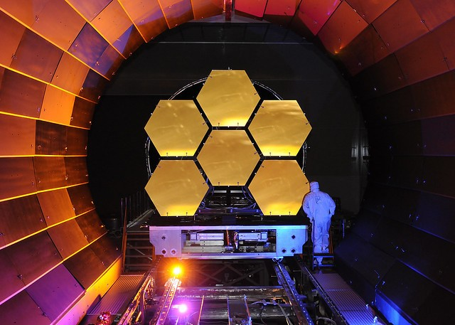 The flight mirrors for the James Webb Space Telescope undergo cryogenic testing at NASA Marshall (Credit: Ball Aerospace)