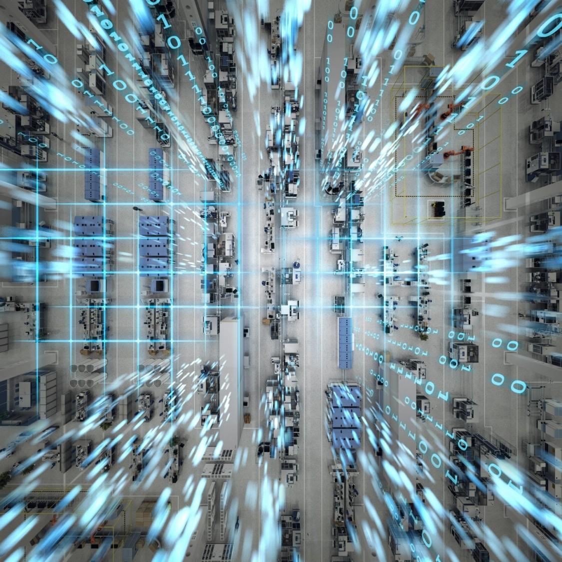 vista por cima de um galpão industrial com um filtro de rede e números azuis