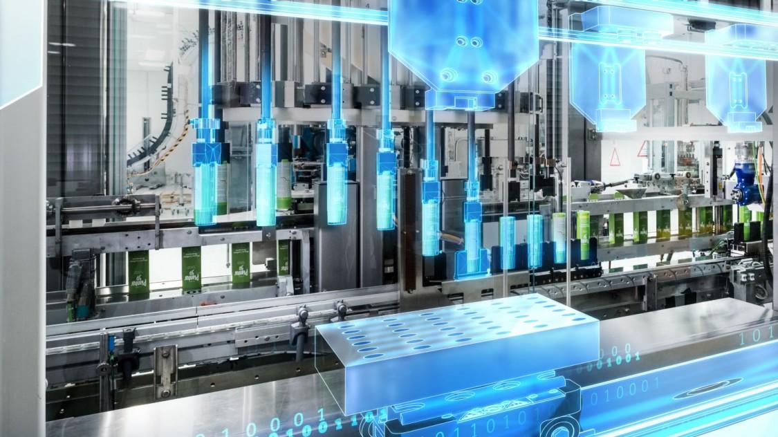 sistema de automação industrial com filtro azul destacando a eficiência dos sistemas siemens
