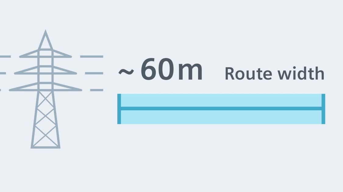 Дволанцюгові повітряні лінії з шириною траси приблизно 60 метрів