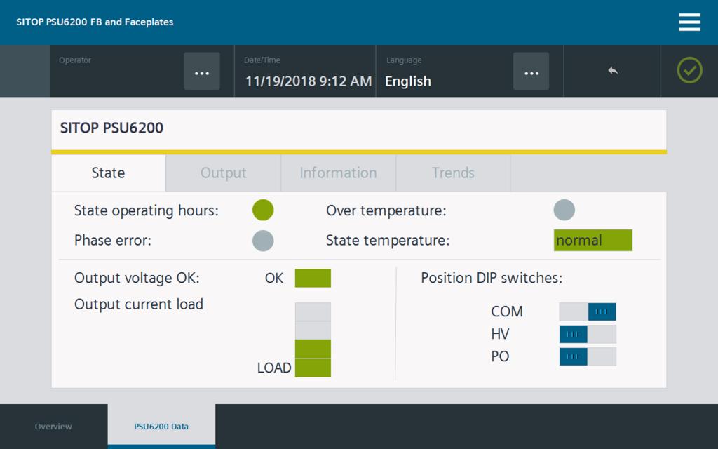 WinCC Faceplates visualisieren den Betriebsstatus und Geräteeinstellungen Status übersichtlich auf einem Blick.