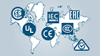 Weltkarte mit CSA, UL, IEC, CE und EAC-Logo