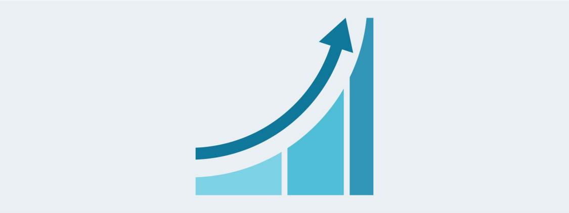 Ein Pfeil zeigt nach oben um steigende Produktivität darzustellen.