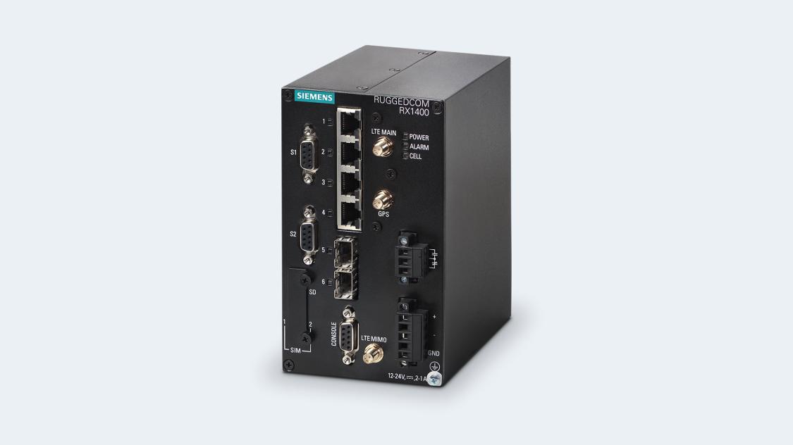 Bild des Industrial IoT Gateways RUGGEDCOM RX1400 mit CloudConnect