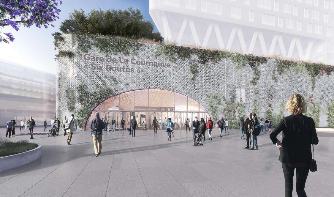 Perspective 3D de la gare de La Courneuve Six-Routes