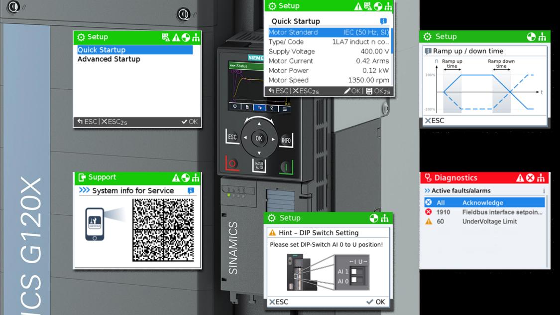 sinamics g120x intelligent operator panel