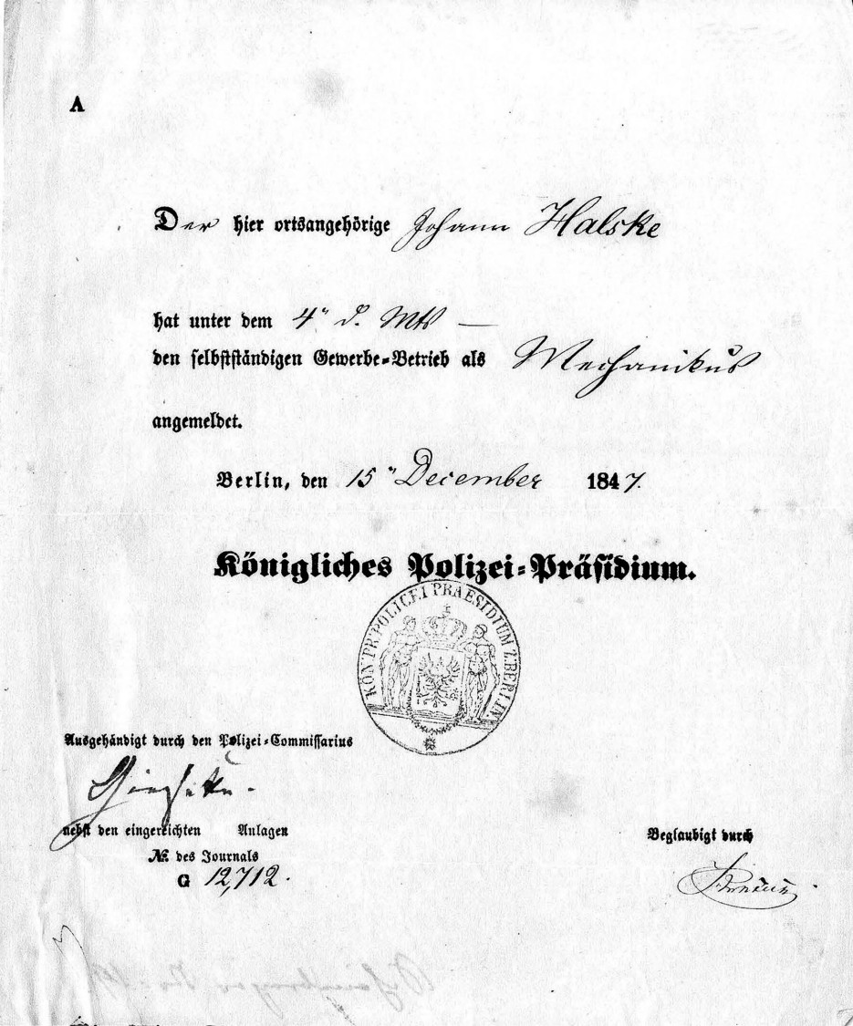 Official certification of the company's founding – Commercial registration, 1847