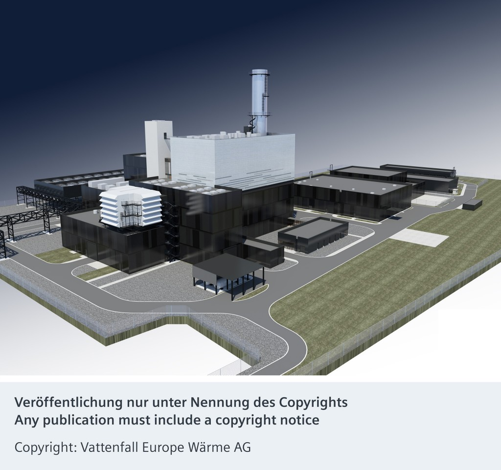 The picture shows the rendering of the new  cogeneration plant in Berlin.