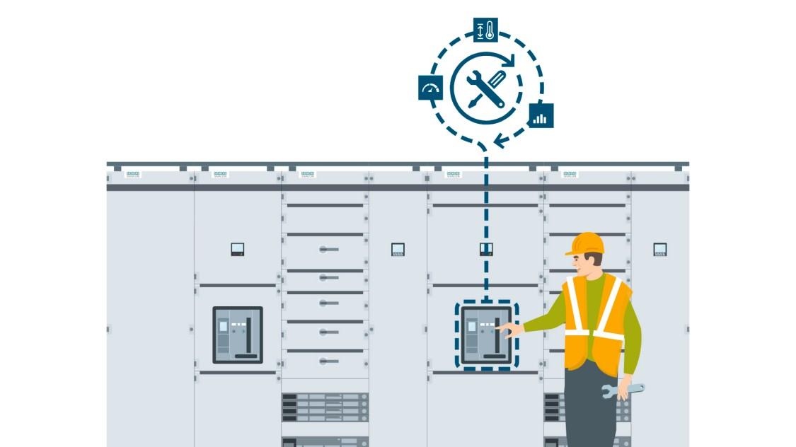 Schematische Darstellung der Features für die langfristige Sicherheit des offenen Leistungsschalters 3WA