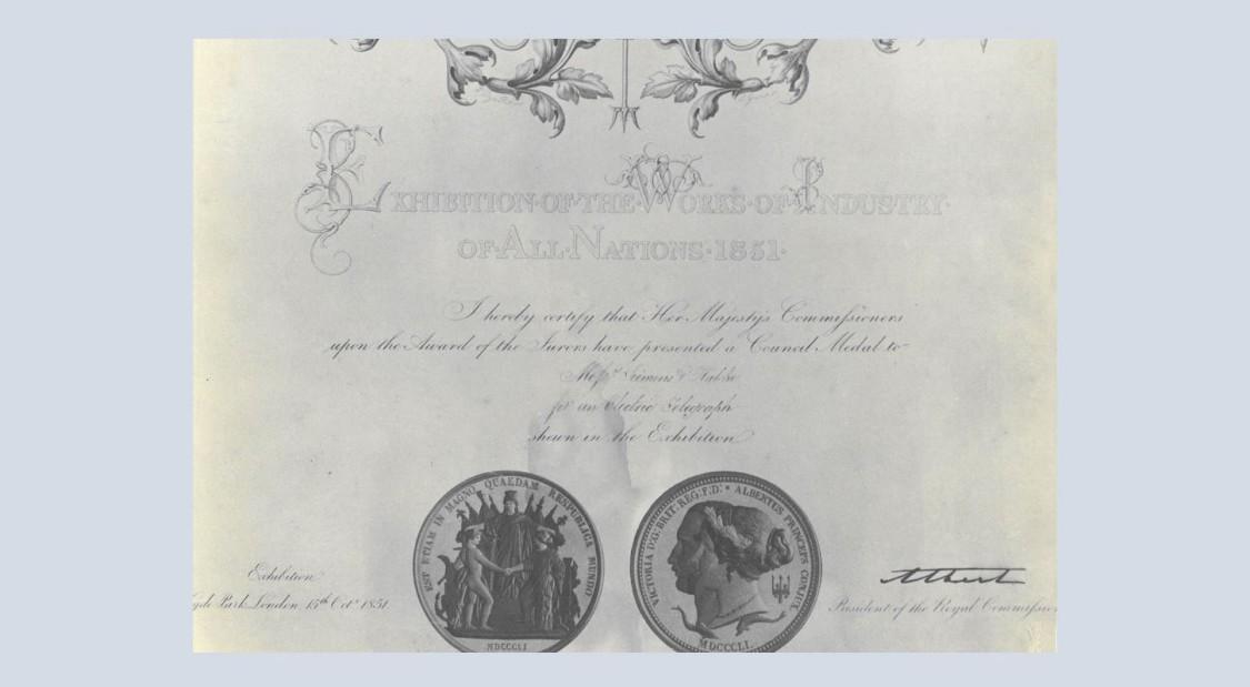 Council Medal Zertifikat, London 1851