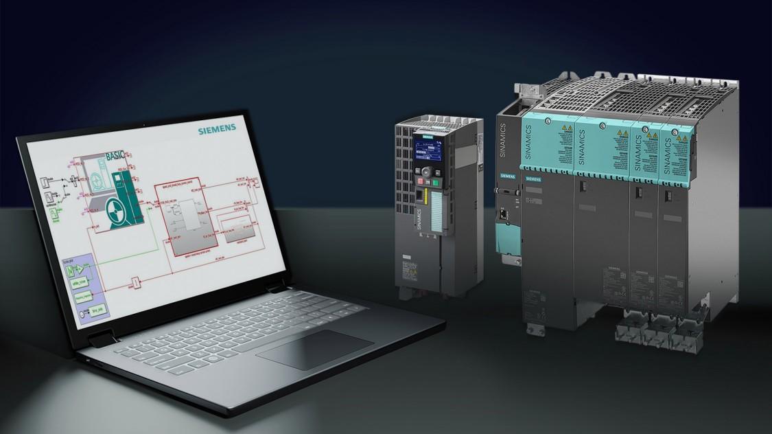 Abbildung SINAMICS Umrichter und Laptop mit SINAMICS DriveSim Basic