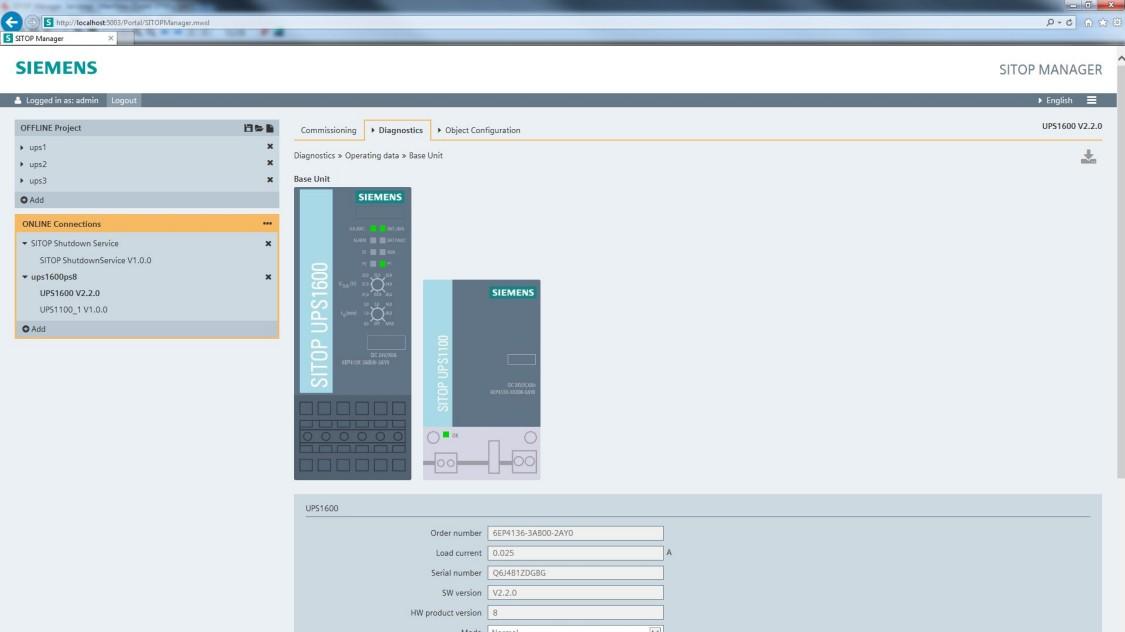 Snímek obrazovky: SITOP Manager