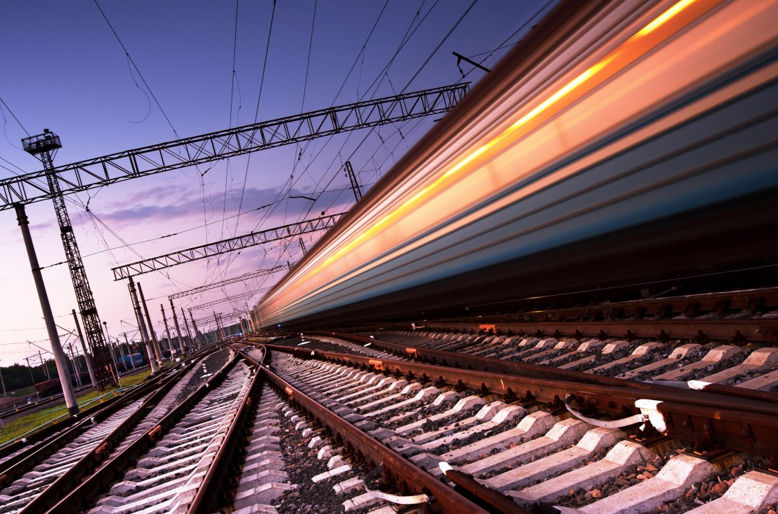 Image of a fast moving train on the tracks