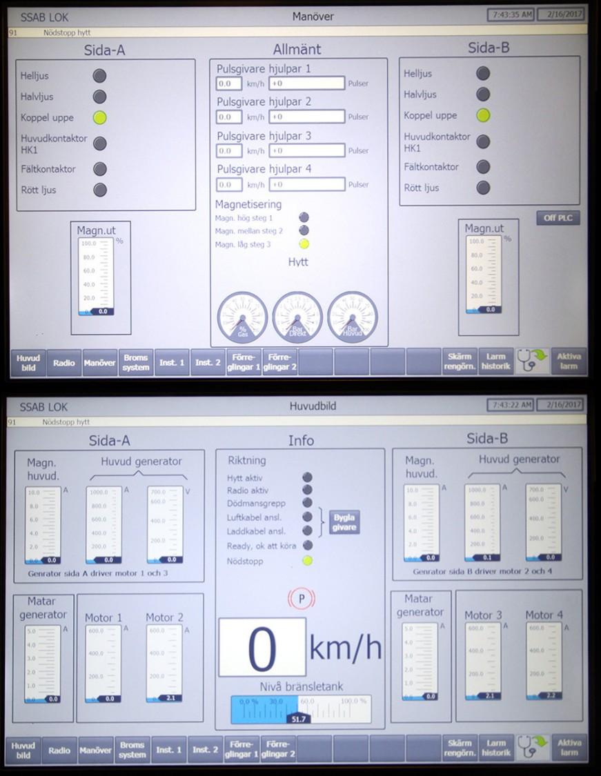 """Styrsystemet sköter momentstyrning och hastighetsreglering för fyra motorer. Pulsgivare sitter på varje hjulpar. Utväxlingen för varje hjulpar, som drivs av en elmotor och växellåda, är samma som för Stockholm Lokaltrafiks tunnelbanetåg. Är- och börvärden, larmer och diagnostik visas på skärmen. """"Felsökningen blir mycket lättare och stillestånden kortare. Du kan sätta fingret direkt på vad felet är"""", säger Patrik Olesen, lokmekaniker."""