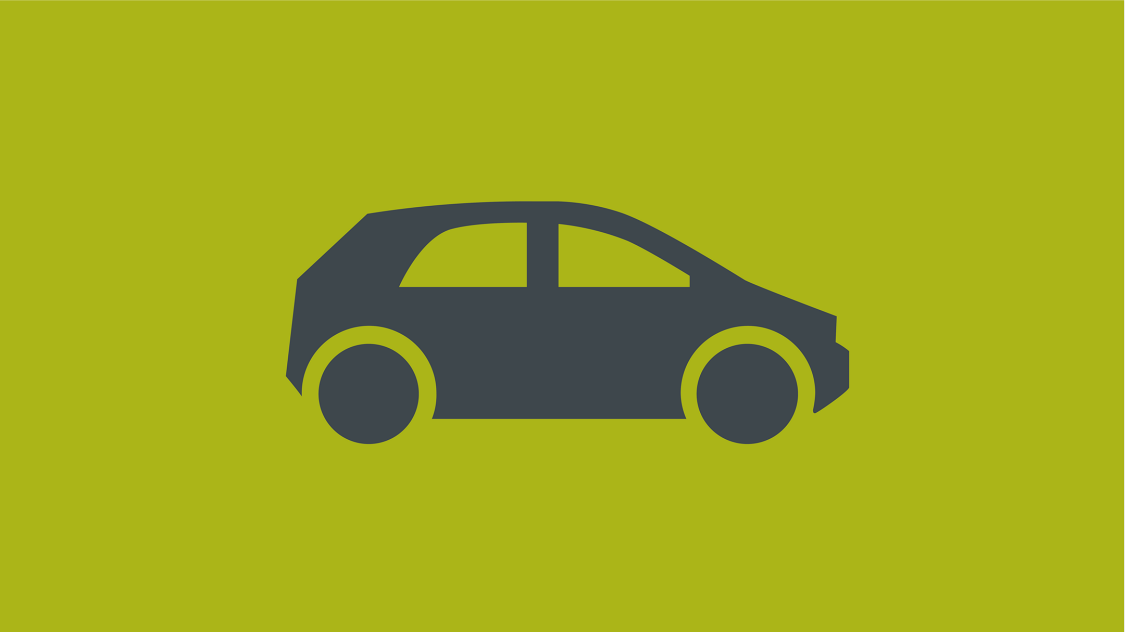 Icon of a stylized car in side view on green background