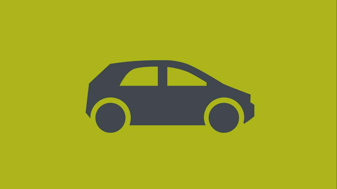 Icon eines stilisierten Autos in Seitenansicht auf grünem Fond