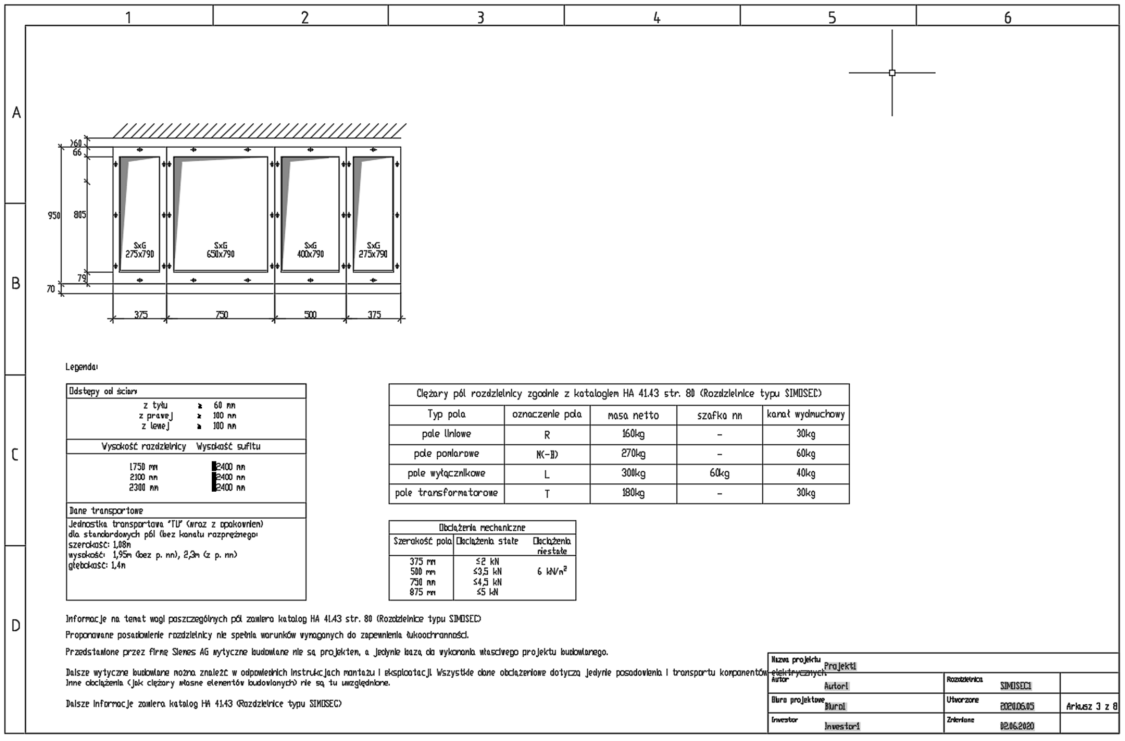 Arkusz z informacjami o posadowieniu rozdzielnicy SIMOSEC