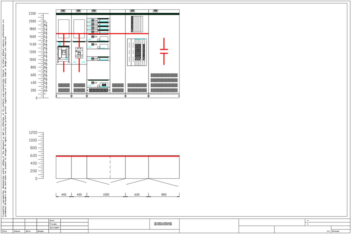 Arkusz z widokiem rozdzielnicy SIVACON S8