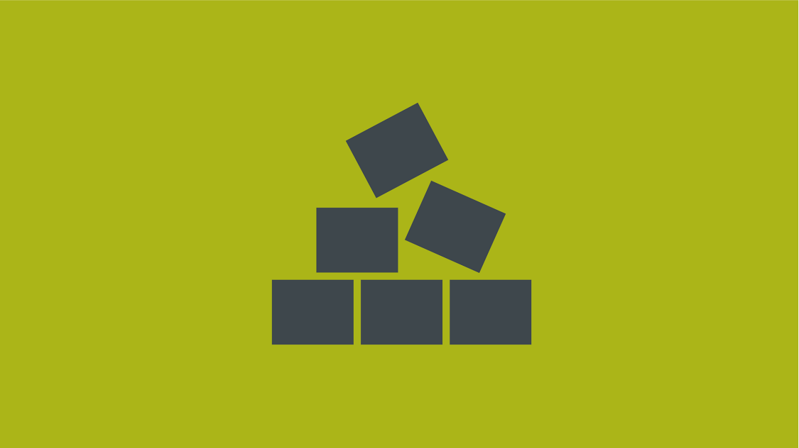 Icon of 6 cubes stacked like a pyramid on a green background
