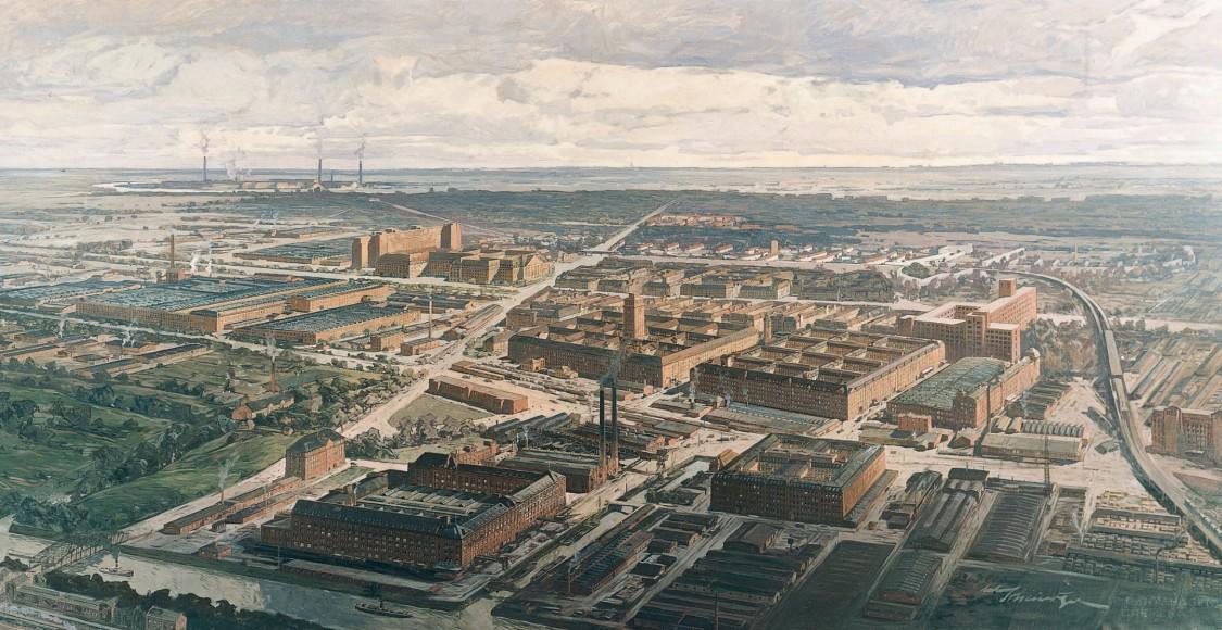 Siemensstadt als Kunstmotiv: Das Ölgemälde von Anton Scheuritzel, um 1930