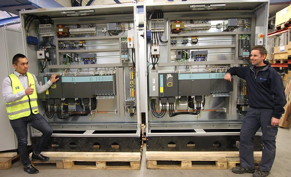 Elskåp för ett projekt till Europa med tre produktionslinjer dragmaskiner, där ståltråd ska reduceras från grov till tunn, och fyra linjer omspolningslinjer där tråden paketeras till slutkundsförpackning.