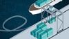 Jeřáb v přístavu nakládající kontejnery na loď pomocí systému Power over Ethernet