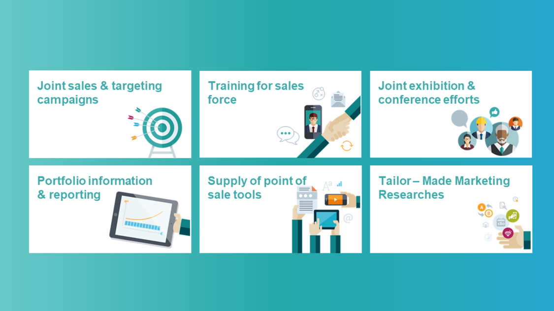 Overview of value added services: joint sales and targeting campaigns, training for sales force, joint exhibition and conference efforts, portfolio information reporting, supply of point of sale tools, tailormade marketing researches