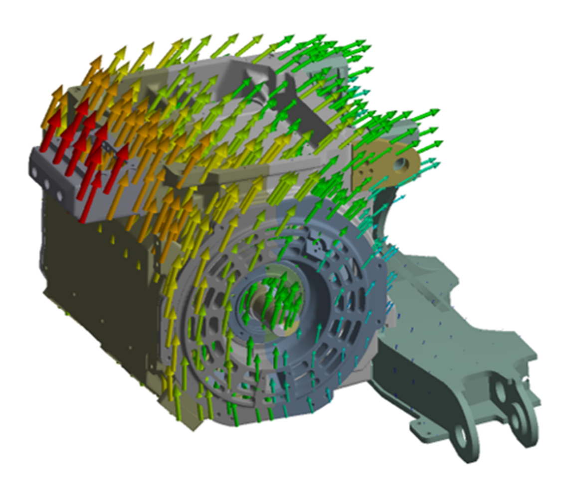 Displacement of traction motor due to accelerations of wheel-to-rail contact