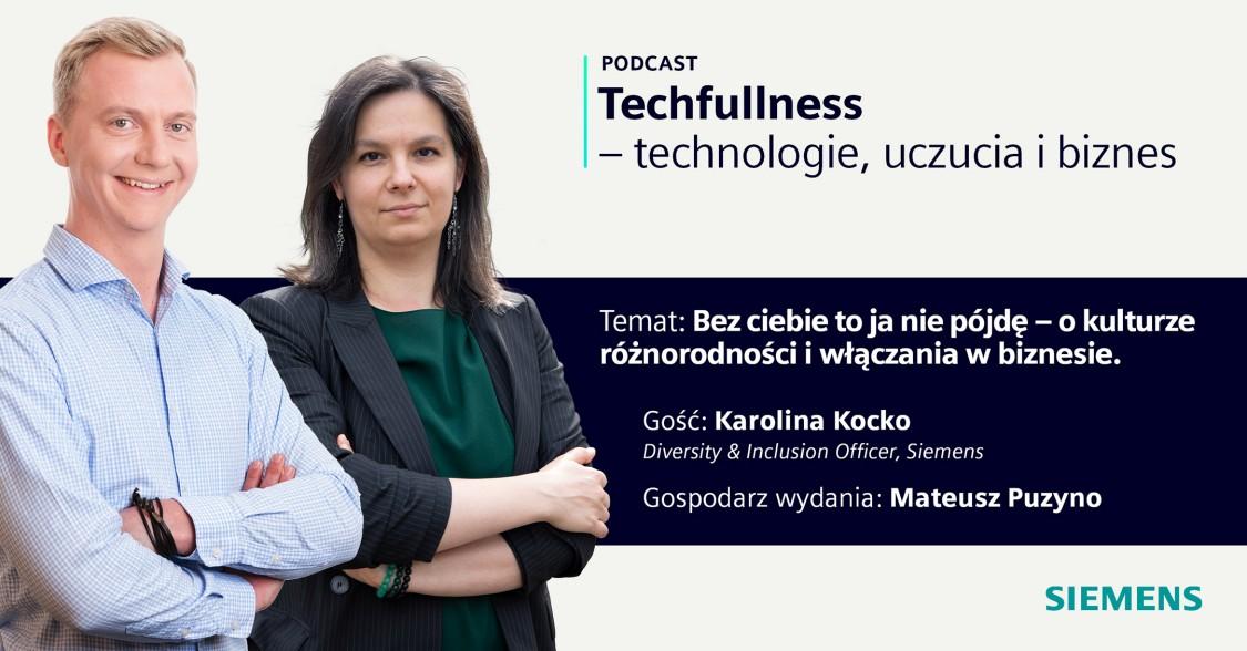 Zdjęcie przedstawia dwóch pracowników Siemensa - Karolinę Kocko, Diversity and Inclusion Officera oraz Mateusza Puzyno