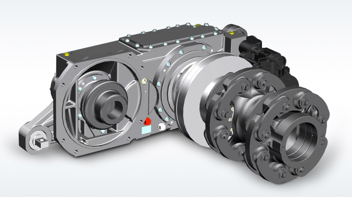 Helical gear units for low-floor trams