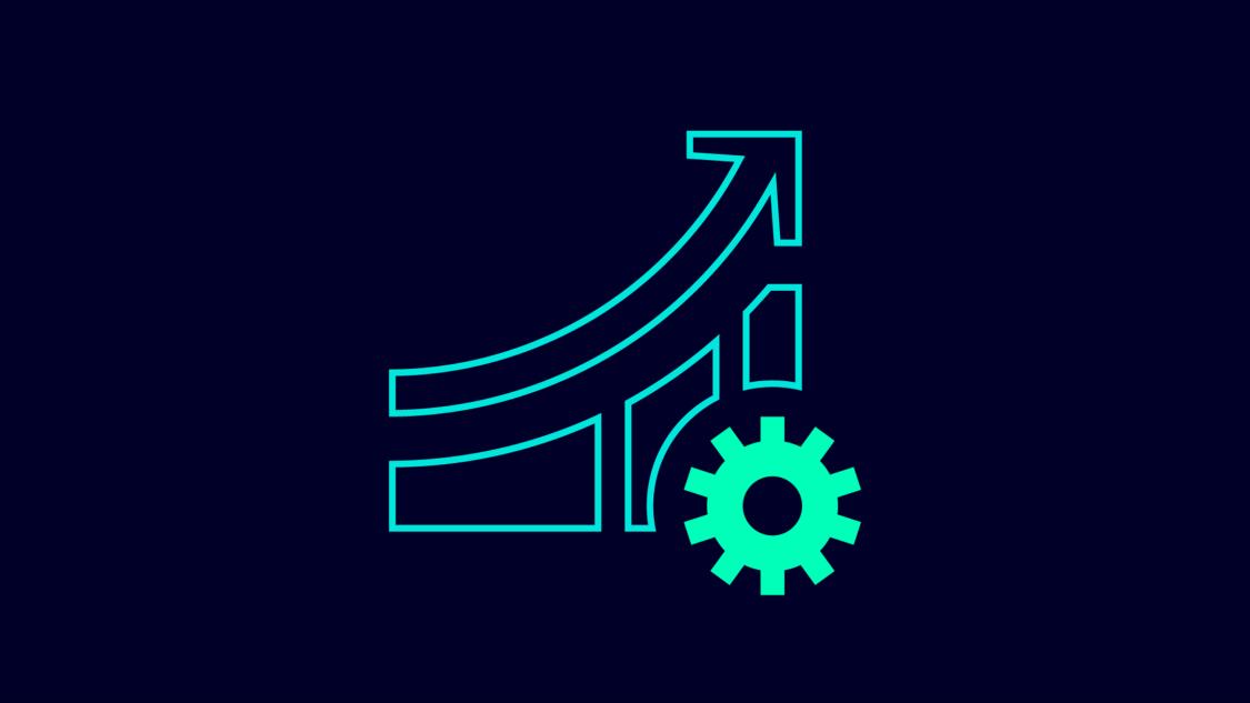 Grafisches Symbol für Erfahrung: ein ansteigender Graf mit einem grünen Zahnrad am unteren rechten Ende.