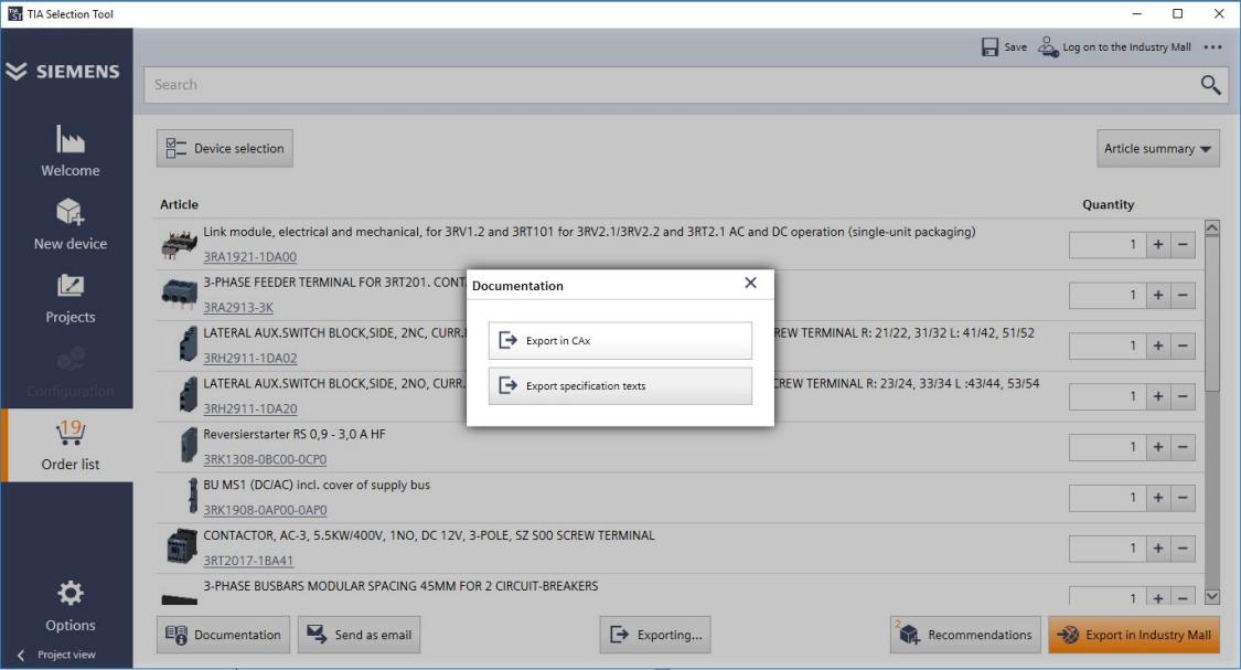 TIA 选型工具:导出 CAx 数据