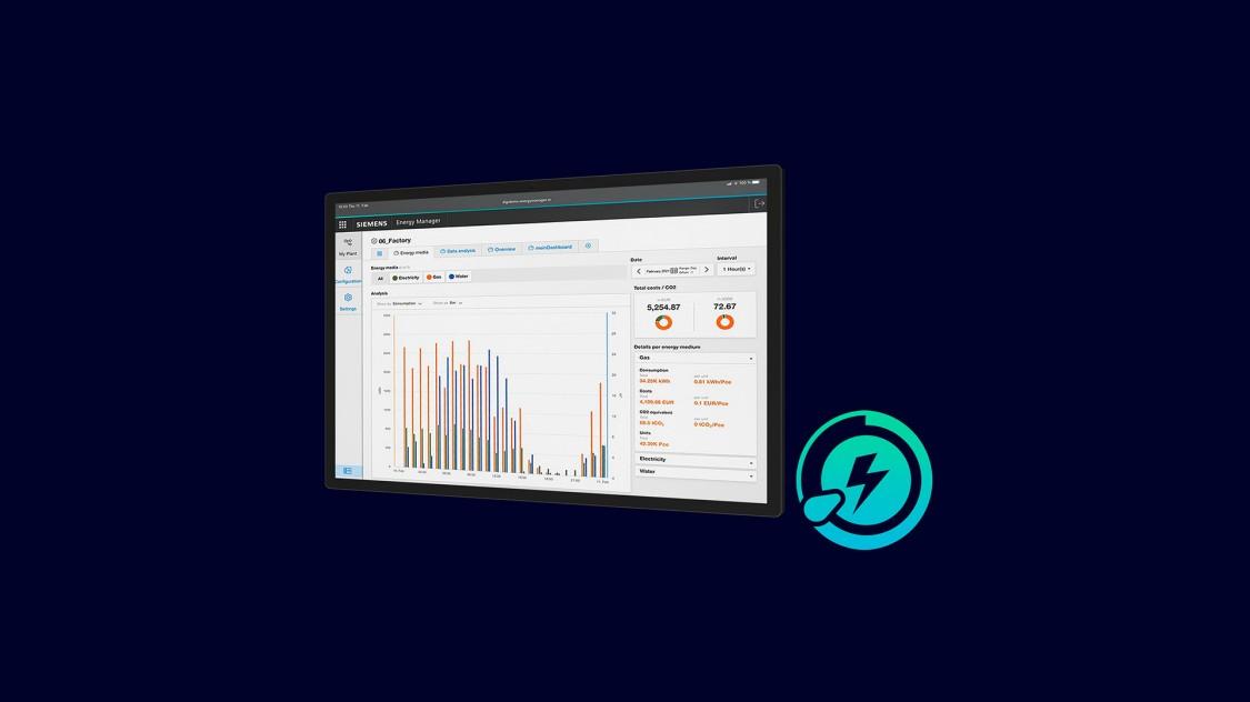 Screenshot der Energy Manager App mit Informationen zum Energieverbrauch einer Fertigungsanlage