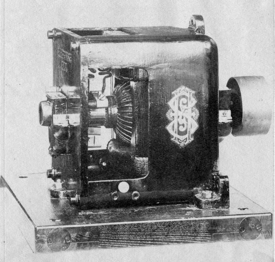 Nur für Insider entzifferbar – Firmenzeichen von S&H auf einem Elektromotor, ca. 1894